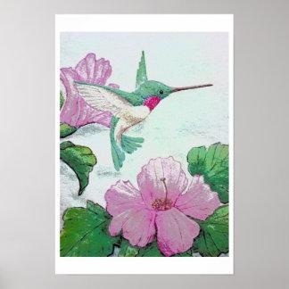 Hummingbird Hibiscus Original ELD art Poster