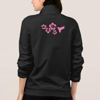 hummingbird hibiscus pink printed jacket
