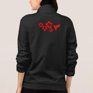 hummingbird hibiscus red printed jacket