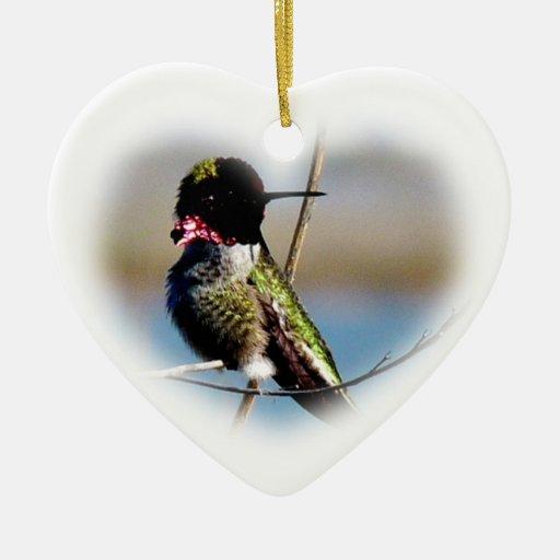 Hummingbird in a heart fantasy ornament