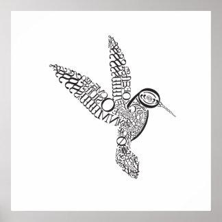 Hummingbird in Baskerville Poster