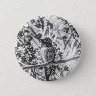 Hummingbird in Black and White Button