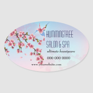Hummingbird in Cherry Blossoms Promotional Oval Sticker