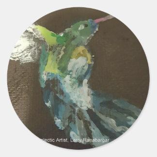 """Hummingbird in flight"" Classic Round Sticker"