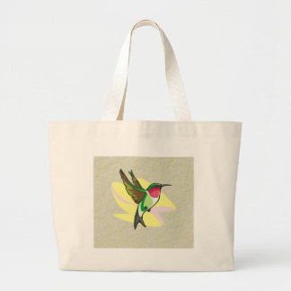 Hummingbird in Flight on Textured Background Tote Bags