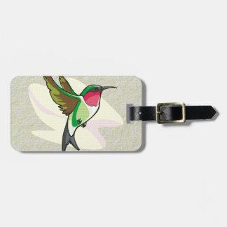 Hummingbird in Flight on Textured Background Bag Tag