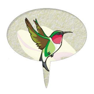 Hummingbird in Flight on Textured Background Cake Picks
