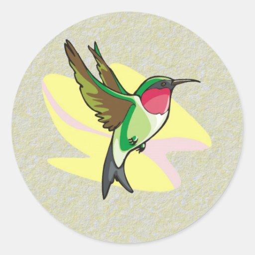 Hummingbird in Flight on Textured Background Classic Round Sticker