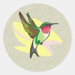 Hummingbird in Flight on Textured Background Round Stickers