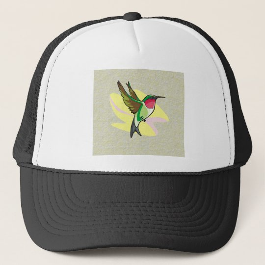 Hummingbird in Flight on Textured Background Trucker Hat