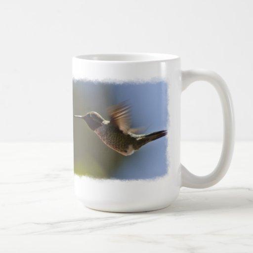 Hummingbird in Flight on White Classic White Coffee Mug