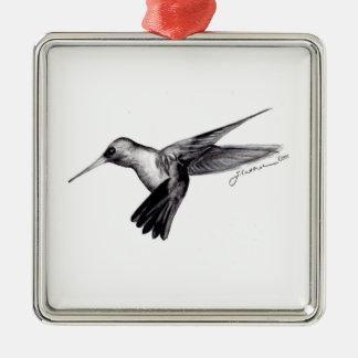 Hummingbird in Flight Square Metal Christmas Ornament