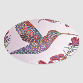 Hummingbird in Flight Oval Sticker