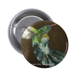 """Hummingbird in flight"" Pinback Button"