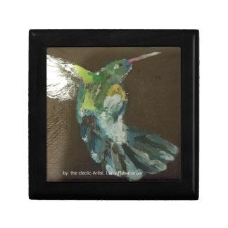 """Hummingbird in flight!"" small Square ceramic Tile Jewelry Box"