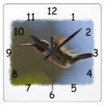 Hummingbird in Flight Square Wall Clock