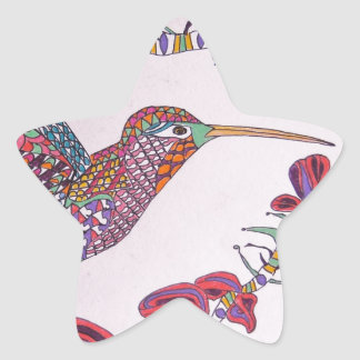 Hummingbird in Flight Star Sticker