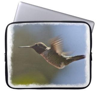 Hummingbird in Flight White Edge Laptop Sleeve