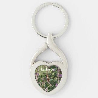 Hummingbird in Purple Flowers Keychain