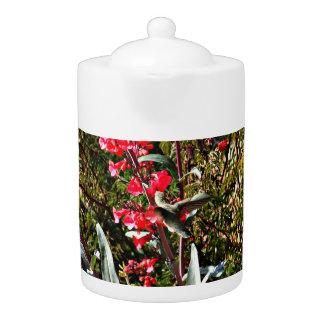Hummingbird in Red Tree Blooms Tea Pot