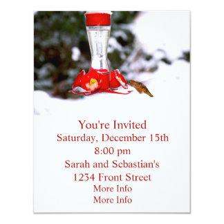Hummingbird in Snow in Winter 4.25x5.5 Paper Invitation Card