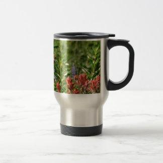 Hummingbird in wild flowers 15 oz stainless steel travel mug