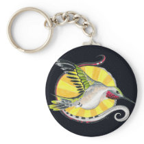 Hummingbird Ink Black Indigo Pattern Art Keychain