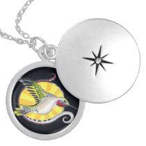 Hummingbird Ink Black Indigo Pattern Art Locket Necklace