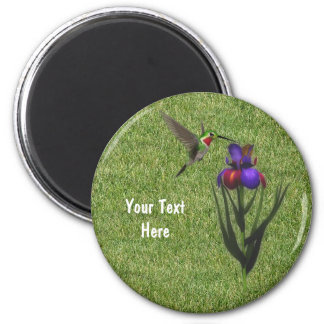 Hummingbird Iris Flower Magnet
