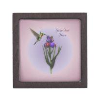 Hummingbird Iris Flower Nature Gift Box