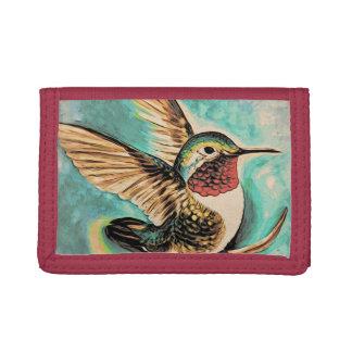 Hummingbird Landing woodblock style Trifold Wallet