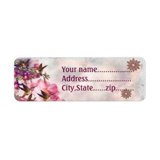Hummingbird Lavender Jeweled CUSTOM Return Address Label