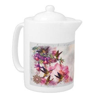 Hummingbird Lavender Jeweled Teapot