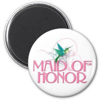 Hummingbird Maid of Honor 2 Inch Round Magnet