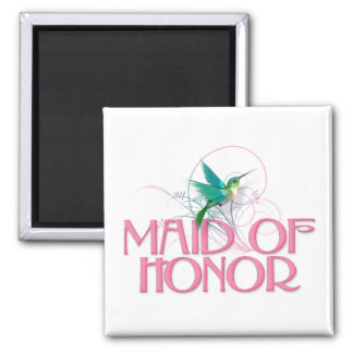 Hummingbird Maid of Honor 2 Inch Square Magnet