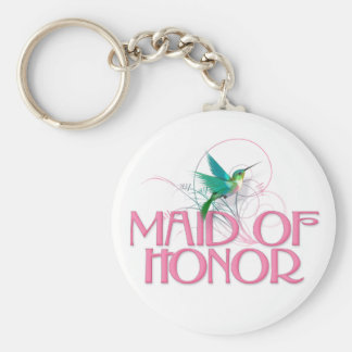 Hummingbird Maid of Honor Basic Round Button Keychain