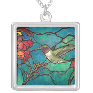 Hummingbird Melody Mini Stained glass Window! Square Pendant Necklace