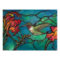 """""""Hummingbird Melody"""" Unique """"stained glass"""" Art Poster"""