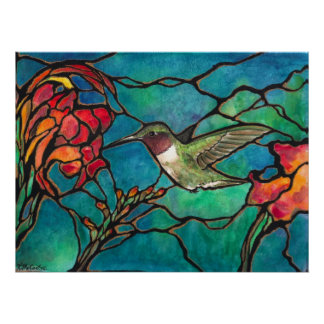"""Hummingbird Melody"" Unique ""stained glass"" Art Poster"