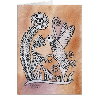 Hummingbird, Mexican Bark Style Greeting Card