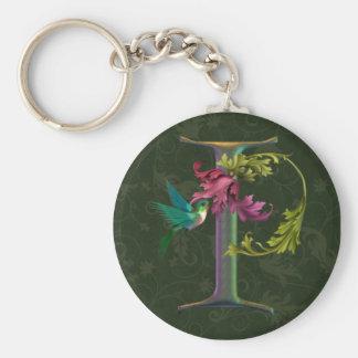 Hummingbird Monigram I Basic Round Button Keychain