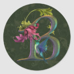 Hummingbird Monogram B Round Sticker