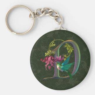 Hummingbird Monogram D Basic Round Button Keychain