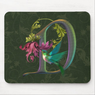Hummingbird Monogram D Mouse Pad