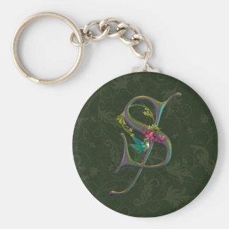 Hummingbird Monogram S Basic Round Button Keychain
