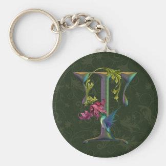 Hummingbird Monogram T Basic Round Button Keychain