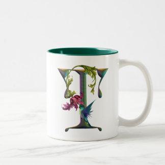 Hummingbird Monogram T Two-Tone Coffee Mug