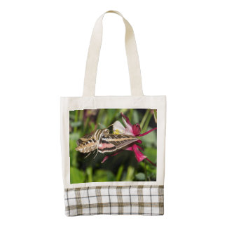 Hummingbird Moth and Pink Columbine Zazzle HEART Tote Bag