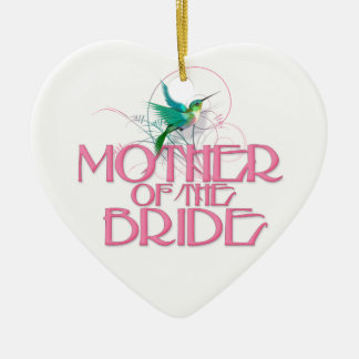 Hummingbird Mother of the Bride Double-Sided Heart Ceramic Christmas Ornament