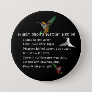 Hummingbird Nectar Recipe Pinback Button